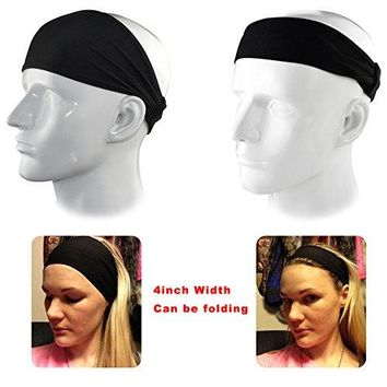 "IPOW 2 Pack 4"" Versatile Lightweight Nonslip Moisture Wicking Elastic Sports Headband Sweatband Wrap For for Fashion, Yoga and Exercise,One Size fits all Men& Women"