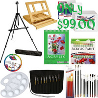 72-Piece Deluxe Acrylic Painting Set with, Aluminum Floor Easel, Wood Drawer Table Easel, 24-Tubes Acrylic Colors
