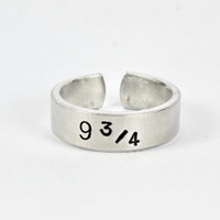 Platform 9 3/4 Ring, Harry Potter Inspired Ring, Platform 9 3/4 Hogwarts Express Ring, Hand Stamped Aluminum Adjustable Ring