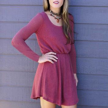 Pink Back Buttons Long-Sleeve Dress