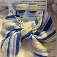 Blue, Yellow, Lime and White Bow Tie Button Earring Set