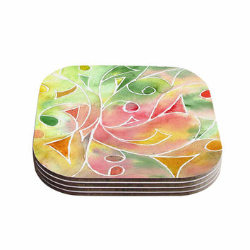 "Rosie Brown ""Gift Wrap"" Multicolor Pastel Coasters (Set of 4)"