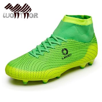 LUONTNOR 2018 New Adults Men Soccer Cleats Shoes Boys Kids Ankle Top Football Boots Training Soccer Sports Sneakers EUR 33-45