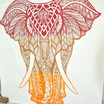 Two Color Orange Elephant Bohemian Boho Wall Beach Bed Tapestry