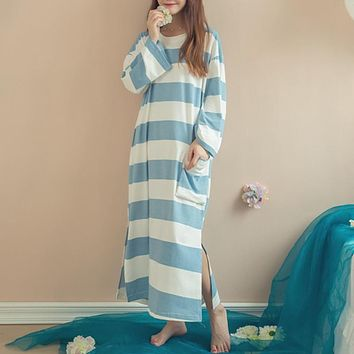Spring Autumn Women Nightgowns Sleepdress Casual Long Sleeve Striped Cotton Breathable Pockets Side Solit Loose Sleepwear