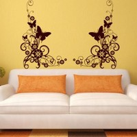 Wall Decal Vinyl Sticker Art Decor Pattern Butterflies Flowers Living Room V142