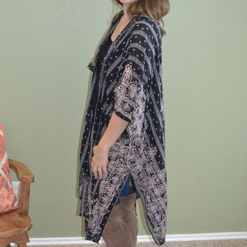 Keep You Satisfied Print Kimono
