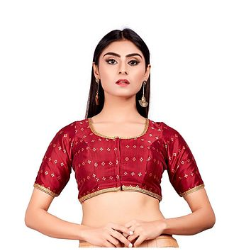 Designer Indian Maroon Dupion Silk Padded Front Open Hooks Elbow Sleeves Saree Blouse (Co-722)