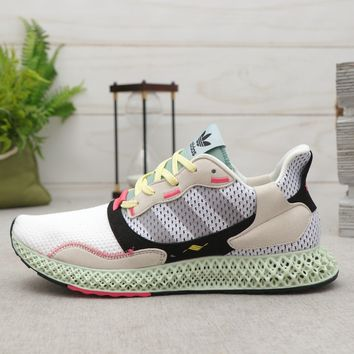 adidas ZX 4000 4D Red One Core Black-Bright Cyan Running Shoes - Best Deal Online