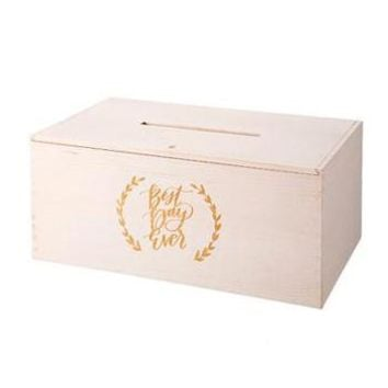 "Best Day Ever Wood Wedding Card Box - 15.75"" Long"