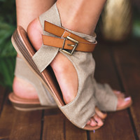 Walk And Talk Buckle Strap Detail Sandal (Sand)