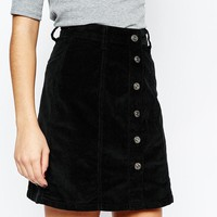 New Look | New Look Cord Button A-Line Skirt at ASOS
