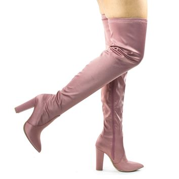 Madam07 Blush Pink Stretchy Chunky Block Heel Thigh High OTK, Over-The-Knee Pointy Toe Boot