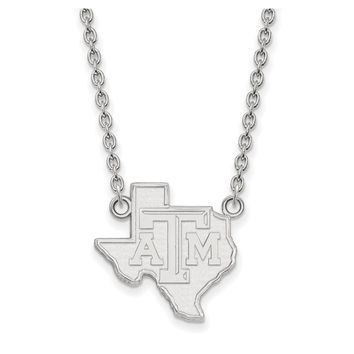 NCAA 14k White Gold Texas A&M U Large TAM State Pendant Necklace