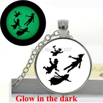 Glow in the dark  Peter and Friends Jewelry, pan peter necklace Art  Photo Glass  Glowing Jewelry Glowing Necklace