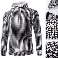 Houndstooth Printed Long Sleeve Hoodie Sweater