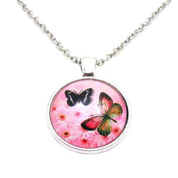 Butterfly Necklace, Picture Necklace, Butterfly Charm, Monarch Butterfly Necklace, Butterfly Photo Necklace, Butterfly Jewelry, Floral Charm