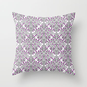 Damask Nature Pink Throw Pillow by Alice Gosling   Society6