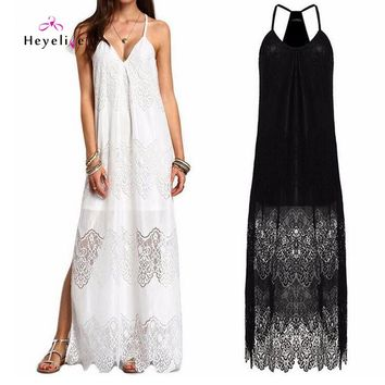 Long Bikini Cover Ups Women Dress Solid  Lace Sexy Beach Tunic Swimsuits Cover Ups Plus Size Beach Sarongs Holiday Summer Dress