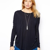 ASOS Long Sleeve Top with Curved Hem in Rib - Navy