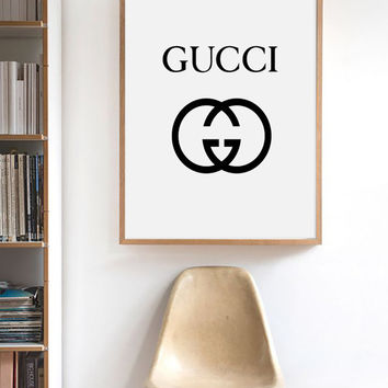Gucci Logo Poster, Gucci logotype,  Gucci fashion wall art, Gucci fashion print, Gucci printable art, Gucci wall art printable,