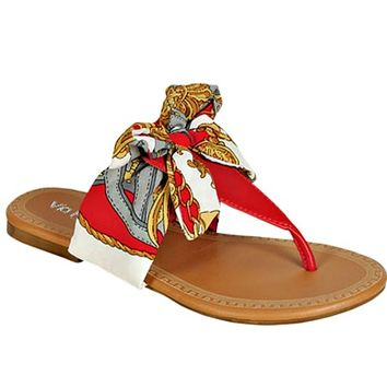 Gigi Red Scarf Sandals