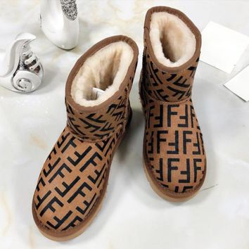 Fendi Women New Fashion High Quality Letter Print Shoes Keep Warm Snow Boots Coffee