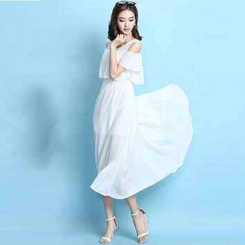 2016 Summer Chiffon Dress Strapless Slim Short Sleeve O-neck Casual Sweet Women Maxi Beach Dress  Long Dress Bohemian
