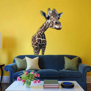 head Giraffe Wall Decals Giraffe wall decor Giraffe Full Color Decals Animals wall Decals Giraffe Wall Art Home Decor room decor cik2200