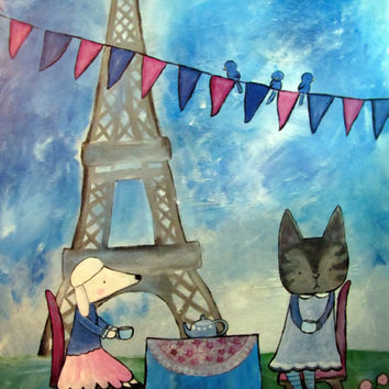 Large Original Nursery Art nursery painting eiffel tower tea party art whimsical kids art nursery decor nursery illustration childrens art