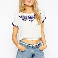 ASOS White Crop Top with Blue Embroidery