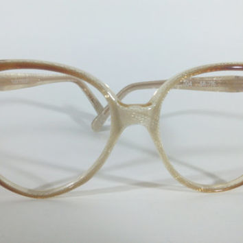 Valentino Mod:004 1970s, Oversized Cat-Eye Glass Frames with Snake Skin Pattern, Vintage Rare 70s Valentino Glasses Frames NOS
