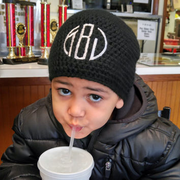 Boy Monogram Hat - Crochet Hat for Kids - Boy Beanie - Monogrammed Boy Clothes - Personalized Boy Gift - Initial Hat - Personalized Kids