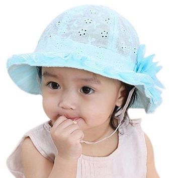 ONETOW Cute Baby Girls Hollow Sun Cap Solid Lace Sunscreen Summer Beach Bucket Flower Hats H9