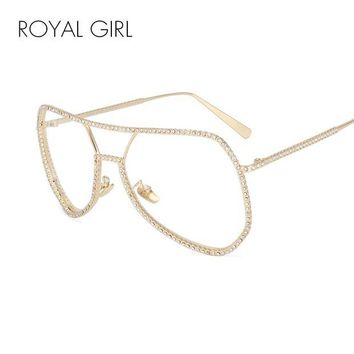 ONETOW Royal Girl New Fashion Clear Frame Rhinestone Double Bridge Glasses UV400 SS165