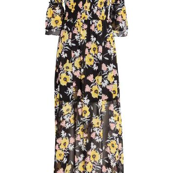 Off-the-shoulder maxi dress - Black/Floral - Ladies | H&M GB