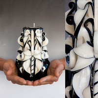 Carved candle - Black and white candle - Black candle - Gothic candle