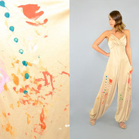 70's Paint Splattered DISCO Bubble Jumpsuit