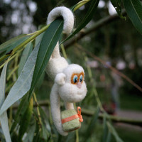 Needle felted animal - felted monkey - a symbol of 2016 - miniature