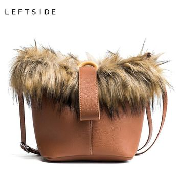 LEFTSIDE 2 Piece Set PU Leather Composite Bag Ladies Handbags Women Fashion Faux Fur Bucket Bags Female Shoulder Crossbody Bag