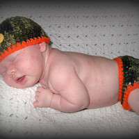 Little Hunter Camo and Orange Baby Diaper Cover and Baby Hat Set-  Baby Shower Gift, Ready to Ship