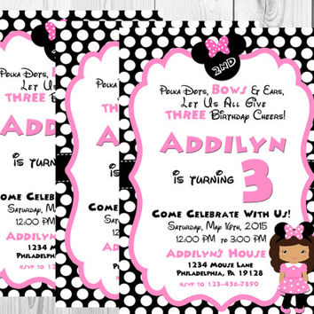 Girl Mouse Birthday Invitation/Pink/Polka Dots/Black/White/Pink/Mouse Birthday/Printable/Digital