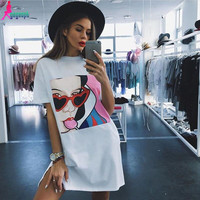 Gagaopt 2016 New Women Dresses Sexy Casual Loose Cute Cotton Vestidos Print Women High Quality Vintage Harajuku Ladies Robes