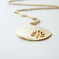 "Large Gold Plated Leaf Pendant on 24"" Matte Gold Chain"