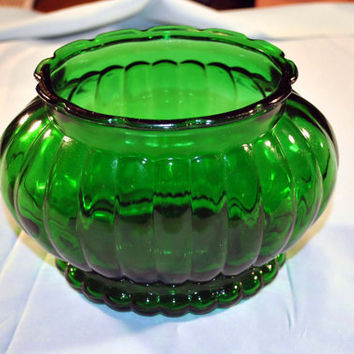 Glass Vase-Planter-Bowl-Green-Vintage-Home Decor-Housewares-ALR Company