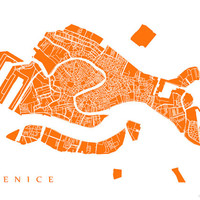Venice City Map Art Poster Print - Choose your colour