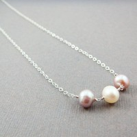 Pastel Pearl Necklace Sterling Silver, June Birthday, Wire Wrapped Pink
