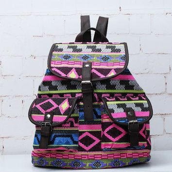 Day-First™ Tribal Aztec Ethnic Travel Bag Canvas Lightweight College Backpack