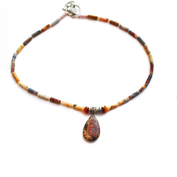 Brown Beaded Necklace of Agate Barrel Beads, Sterling oval pendant, Lacy patterned Agate Gems, Natural gems in Shades of Brown, Gift for her