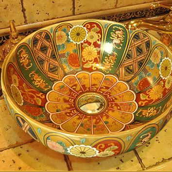 Free shipping bathroom round sinks Ceramic counter top basins hand painting art vessel